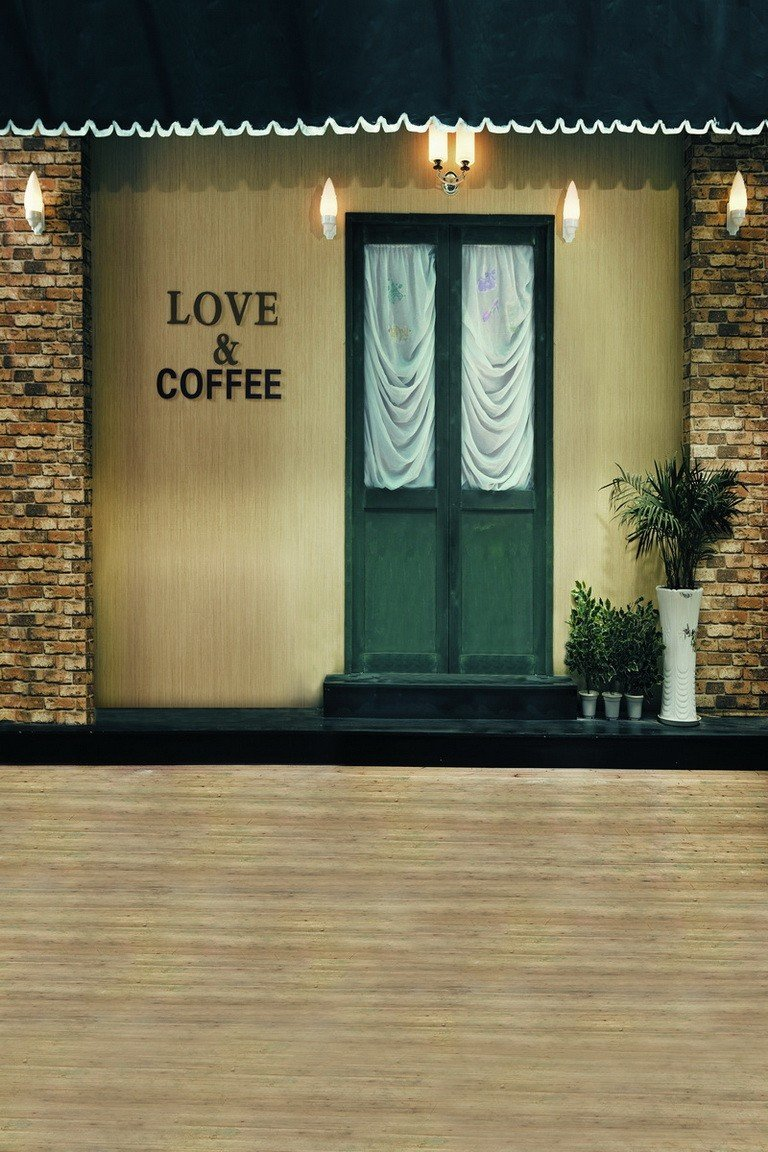 A.Monamour 木製フロアラブ コーヒードア ストリートビルディングスタジオ 写真撮影用背景幕 ビニール 5x7フィート 壁画   B01CVT2MSU
