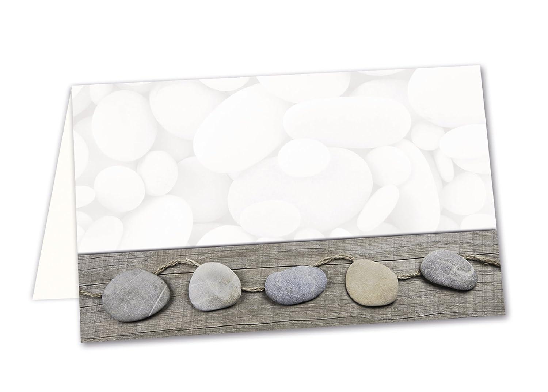 Lot de 50 cartons pour plan de table blanc, gris steinmotiv cartes de plan de table, de prix ou namenskärtchen pour que votre fête, ou toutes autres manifestations; 8,5 x 5,5 cm Jeanette Dietl