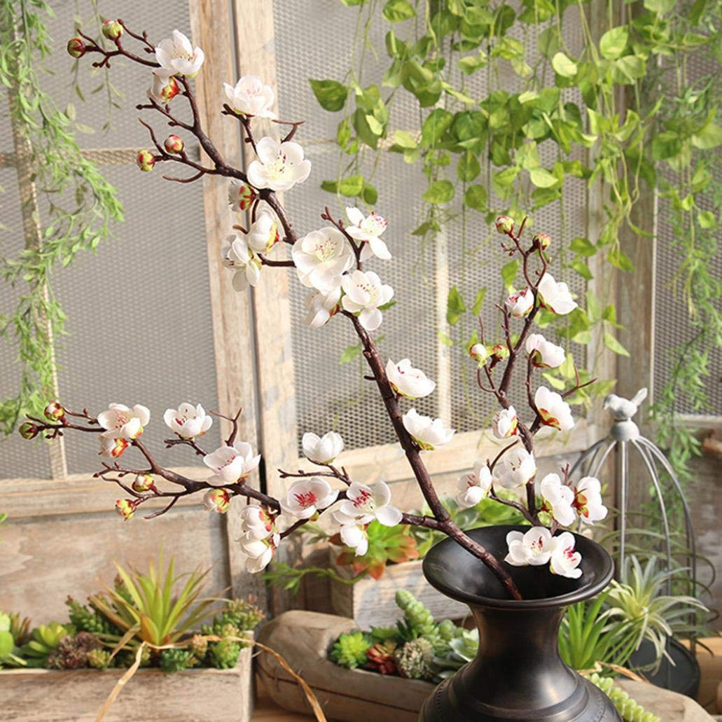Artificial Flowers, MaxFox Fake Plum Blossom Bouquet Silk Flower Bouquets Home Office Wedding Party Decor (White) by MaxFox (Image #2)