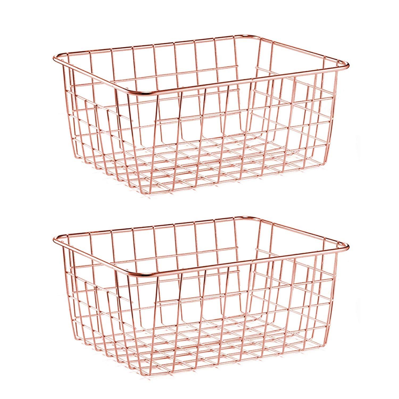 Rose Gold, 2 SimpleKitchen Wire Storage Basket Organizer Bin Baskets for Kithen Cabinets Freezer Bedroom Bathroom Organizing Storage Crafts Decor Kitchen