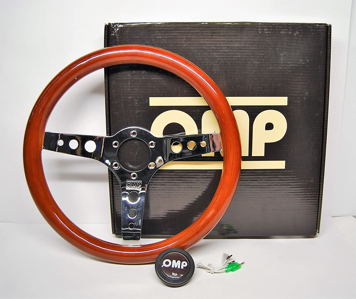 OMP Ompod/2023/Le Mugello Wooden Steering Wheel, Diameter 360  mm, Single-Coloured, Diá metro 360 mm Diameter 360 mm Diámetro 360 mm