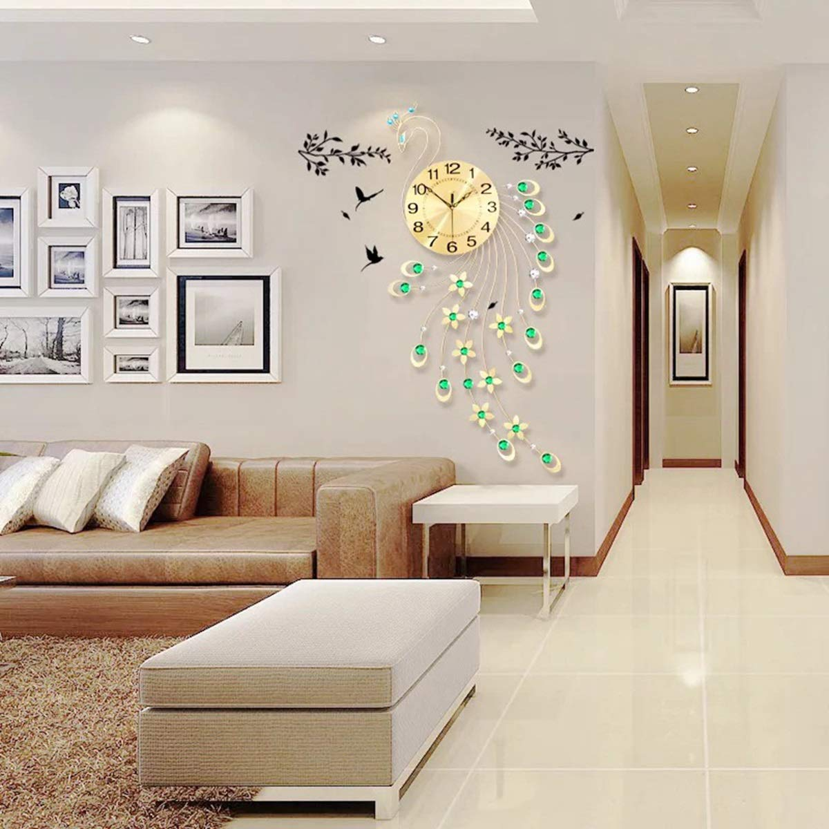 Amazon.com: PHM 3D Wall Clock Modern Design Home Decoration Wall Clock WCLT Peacock Diamond Decoration Wall Clock Modern Design (Color : Gold): Home & ...