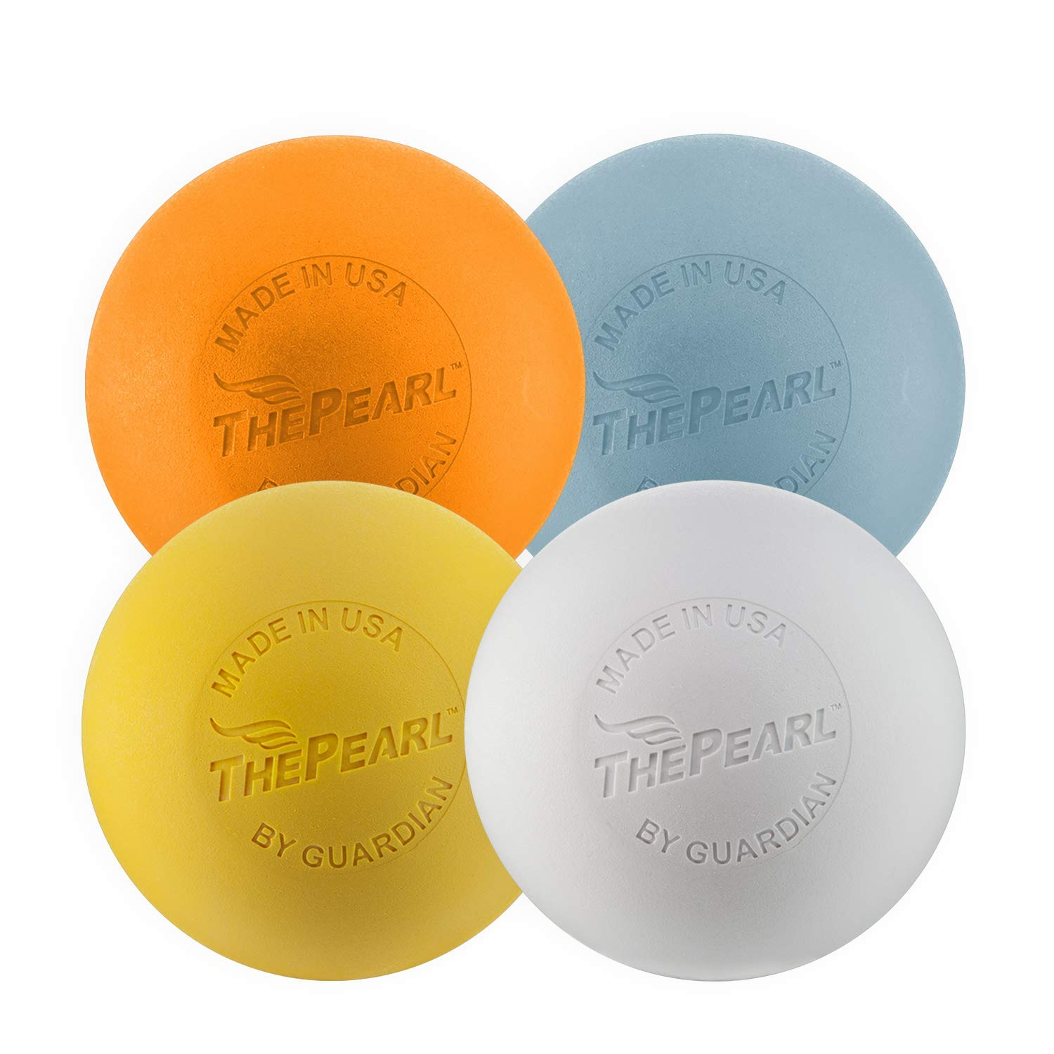 Guardian Innovations The Pearl - Greaseless Lacrosse Balls (White, Yellow & Orange - NOCSAE/NCAA/NFHS Certified; Blue No-Bounce - Practice) - Official Ball of US Lacrosse & Team USA (Variety, 4 Pack)