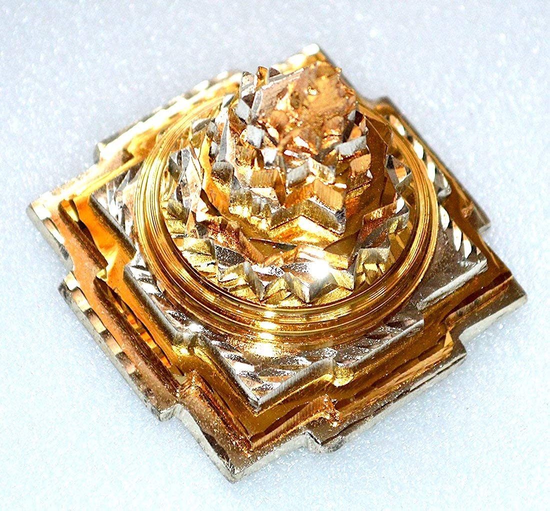 Sri Yantra, Shri Meru Yantra, Sri Chakra in Ashtadhatu & Brass gold/silver/copper tone polish sizes 3