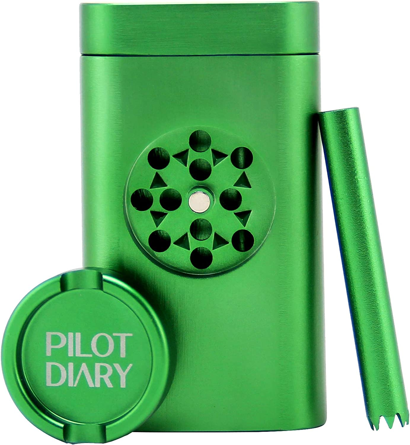 PILOTDIARY Stash Holder Aluminum Magnetic Lid | Special Design with Mini Grinder, Malachite Green
