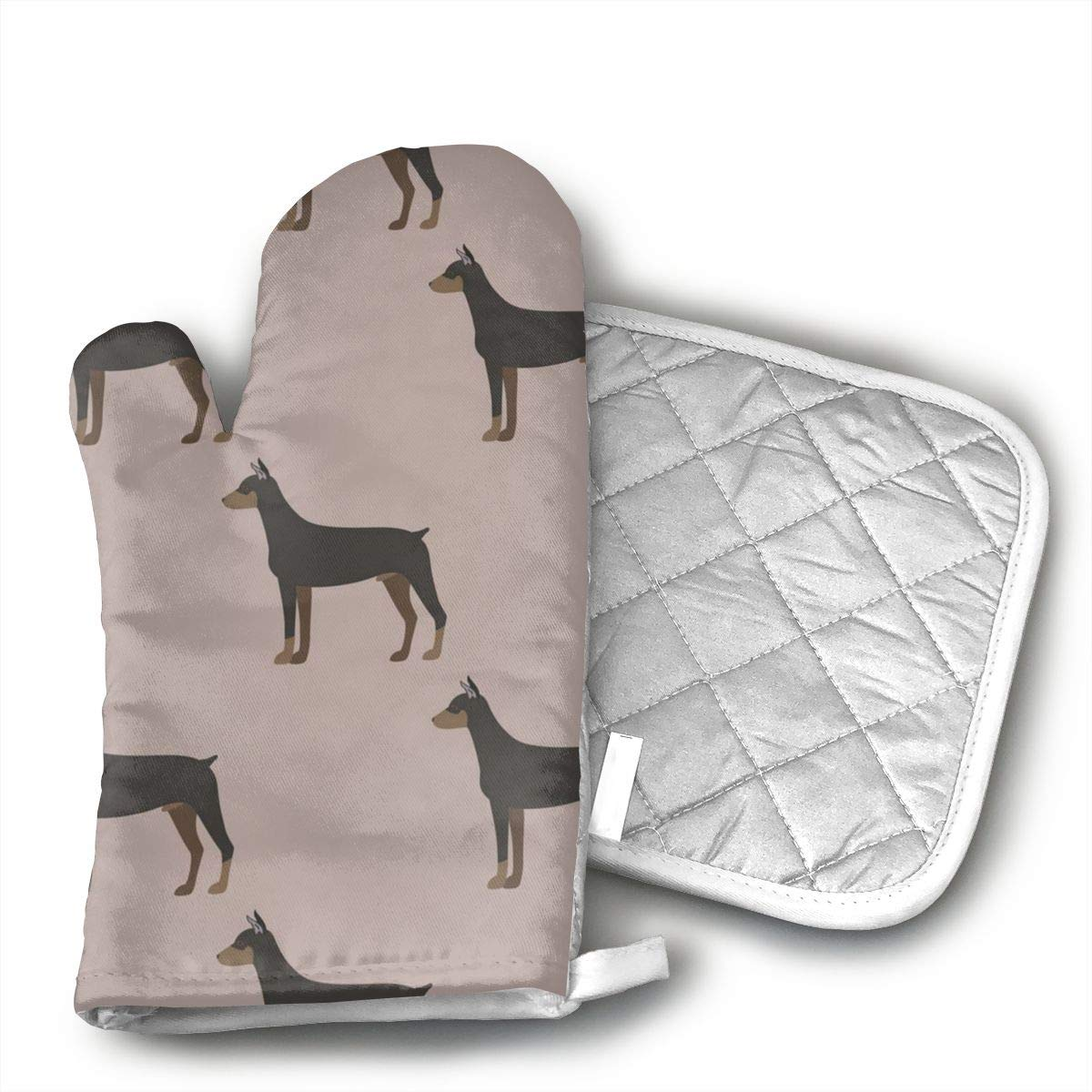 Wiqo9 Cartoon Doberman Dog Oven Mitts and Pot Holders Kitchen Mitten Cooking Gloves,Cooking, Baking, BBQ.
