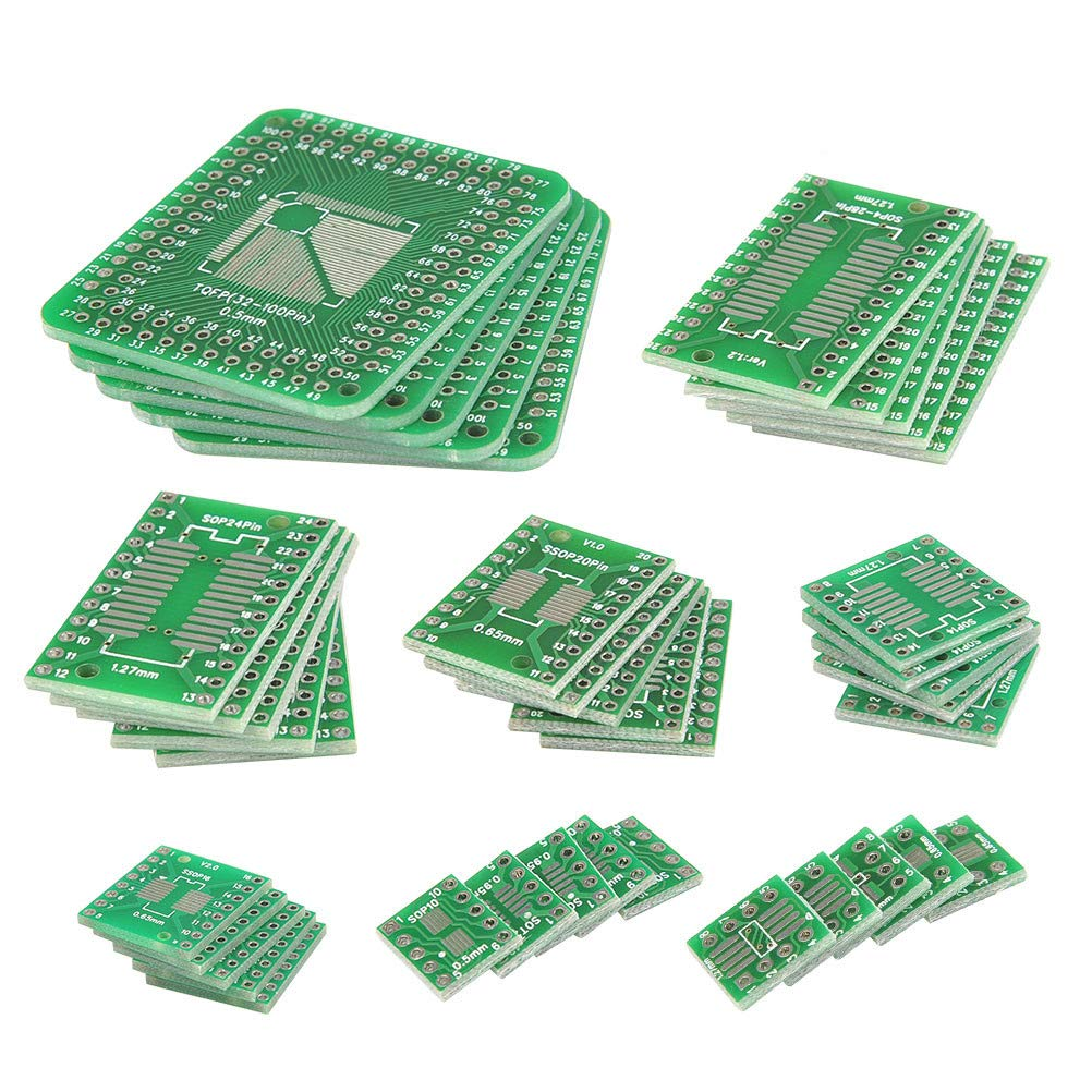 QLOUNI 40pcs PCB Proto Boards SMD to Dip Adapter Plate Converter TQFP (32 44 48 64 84 100) SOP SSOP TSSOP 8 10 14 16 20 23 24 28