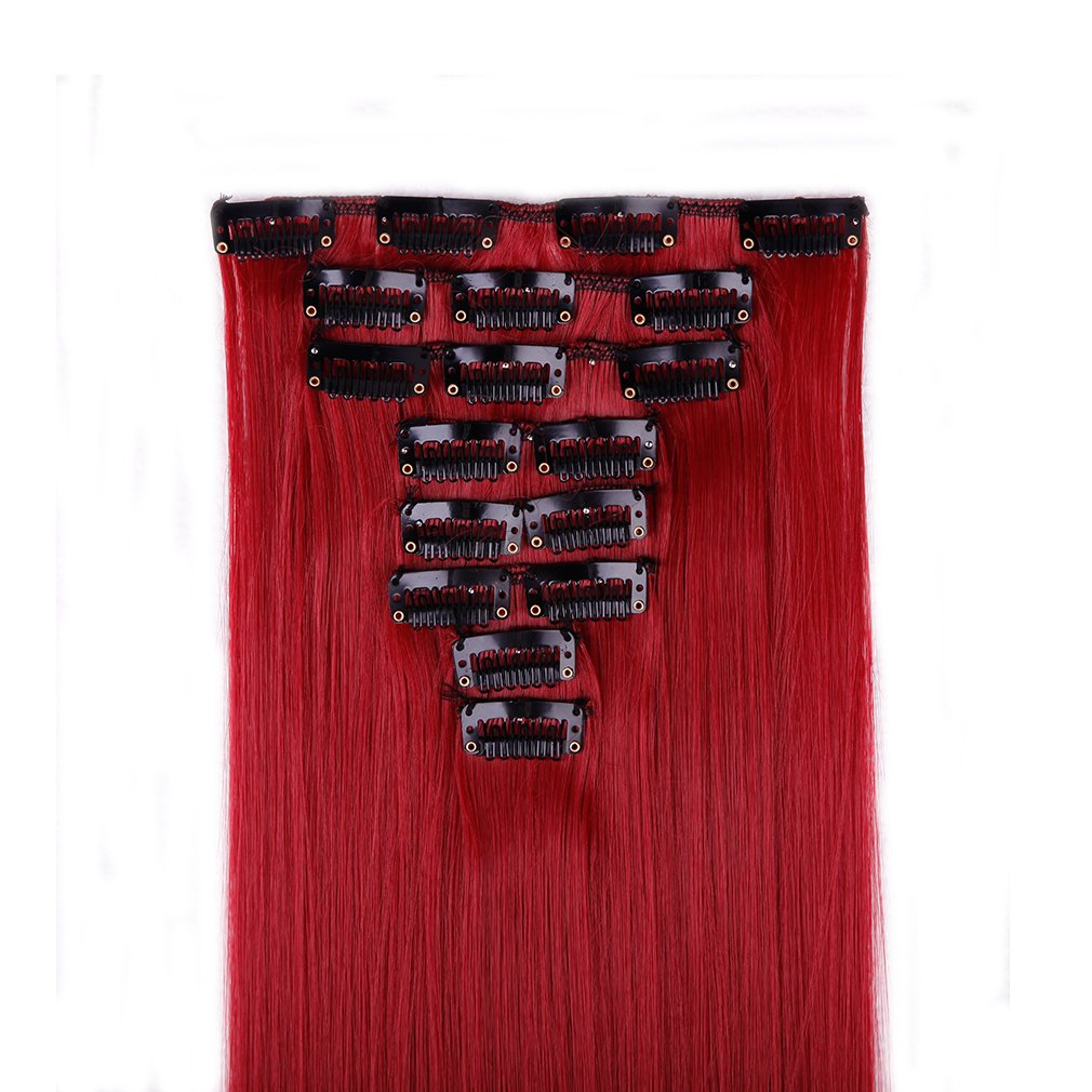 Clip in Hair Extensions Synthetic Full Head Charming Hairpieces Thick Long Straight 8pcs 18clips for Women Girls Lady (23 inches-straight, dark red) by Beauti-gant (Image #2)