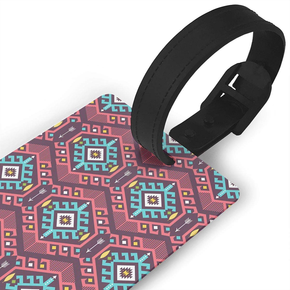 Set of 2 Aztec Geometric Seamless Colorful Pattern Luggage Tags Suitcase Labels Bag Travel Accessories