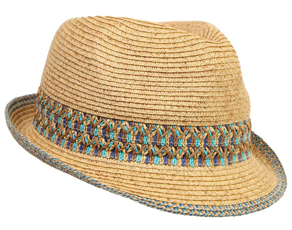 H-6108-11 Multicolor Woven Fedora - Blue by Funky Junque