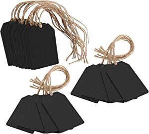 HONZUEN 20 Pcs Hanging Wooden Mini Chalkboard Signs, Double-Sided Wooden Chalkboard Tags with String, Reusable Hanging Chalkboard Labels for Price Tags, Message Tags, Food Labels, Wedding Party Tags