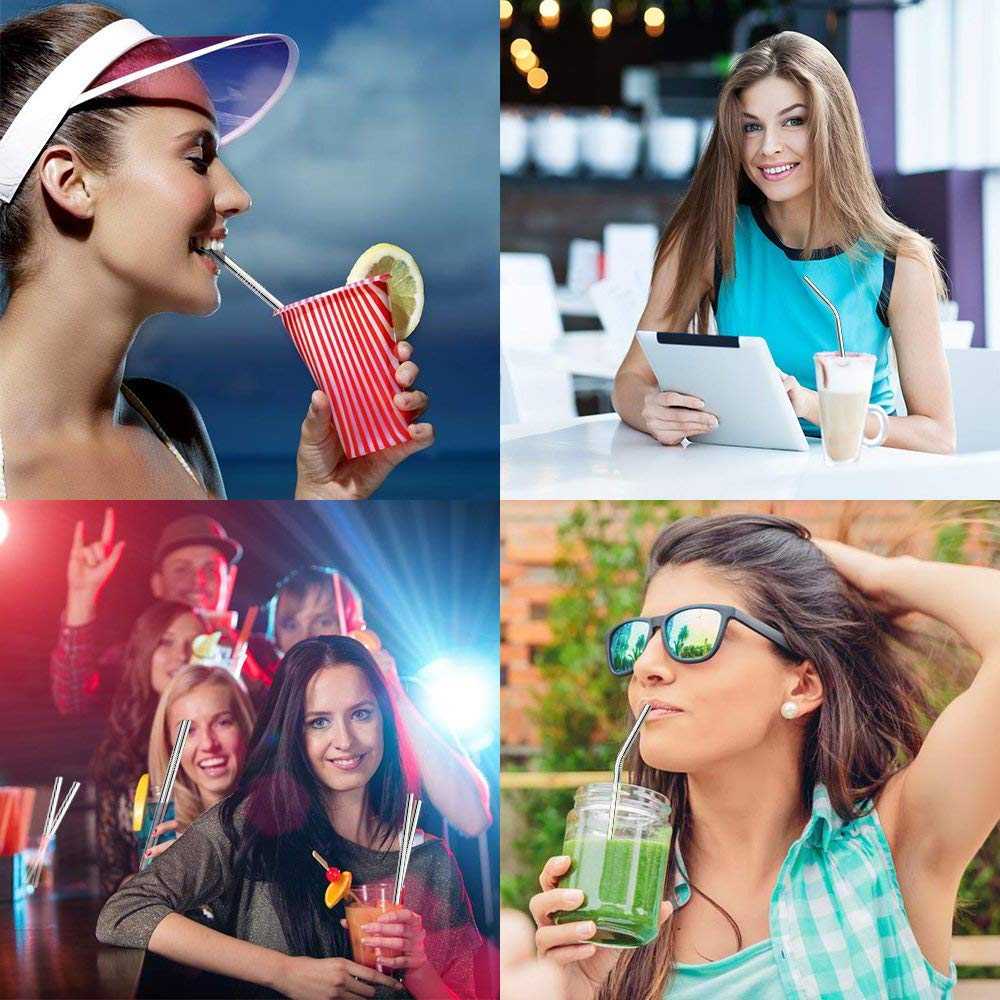 Reusable Silicone Drinking Straws Kitdine Set of 10 BPA Free ( 2 Straight & 2 Bent Stainless Steel Straws with Silicone Tips +1 Filter Spoon + 1 Metal Filter Straws + 2 Silicone Straws for Yeti / Rtic / Ozark + 2 Bamboo Drinking Straws ) 2