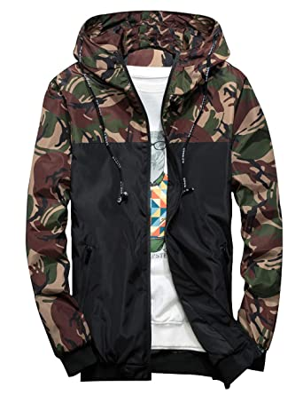ccf80dbd8 ZOXO Men's Windbreaker Jacket, Floral Bomber Jacket Lightweight Zip-up  Hooded Coat Olive Army