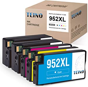 TEINO Remanufactured Ink Cartridges Replacement for HP 952 952XL 952 XL for OfficeJet Pro 8710 8720 8740 7740 8210 8216 8730 7720 8702 8715 (2 Black 1 Cyan 1 Magenta 1 Yellow, 5-Pack)