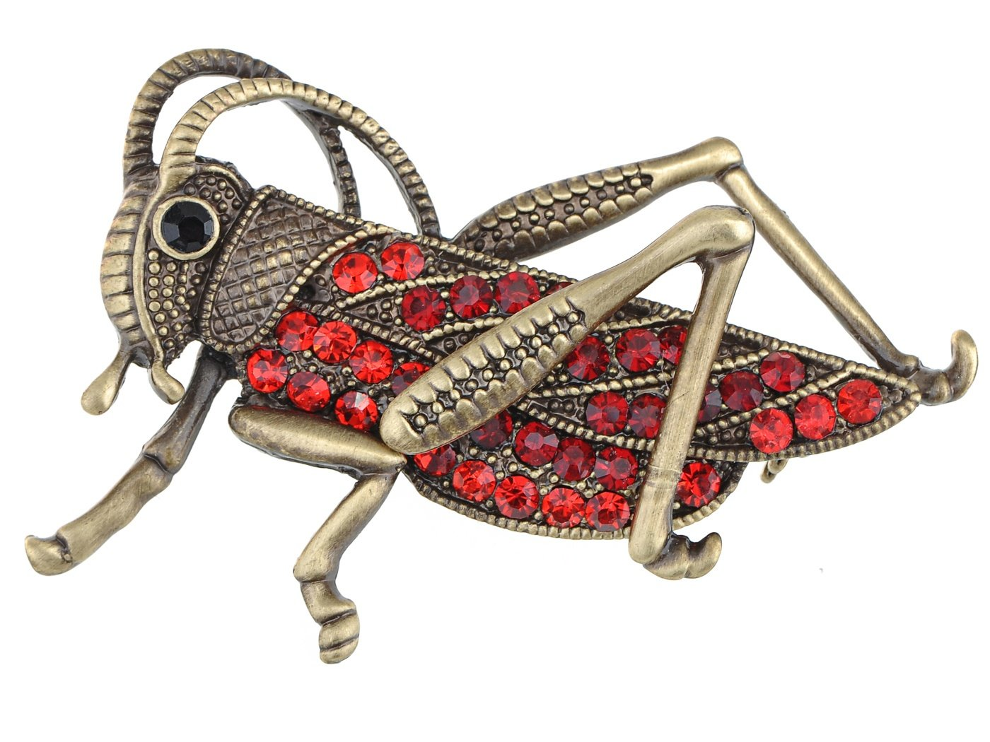 Alilang Womens Antique Golden Tone Red Rhinestones Grasshopper Cricket Insect Brooch Pin by Alilang (Image #1)