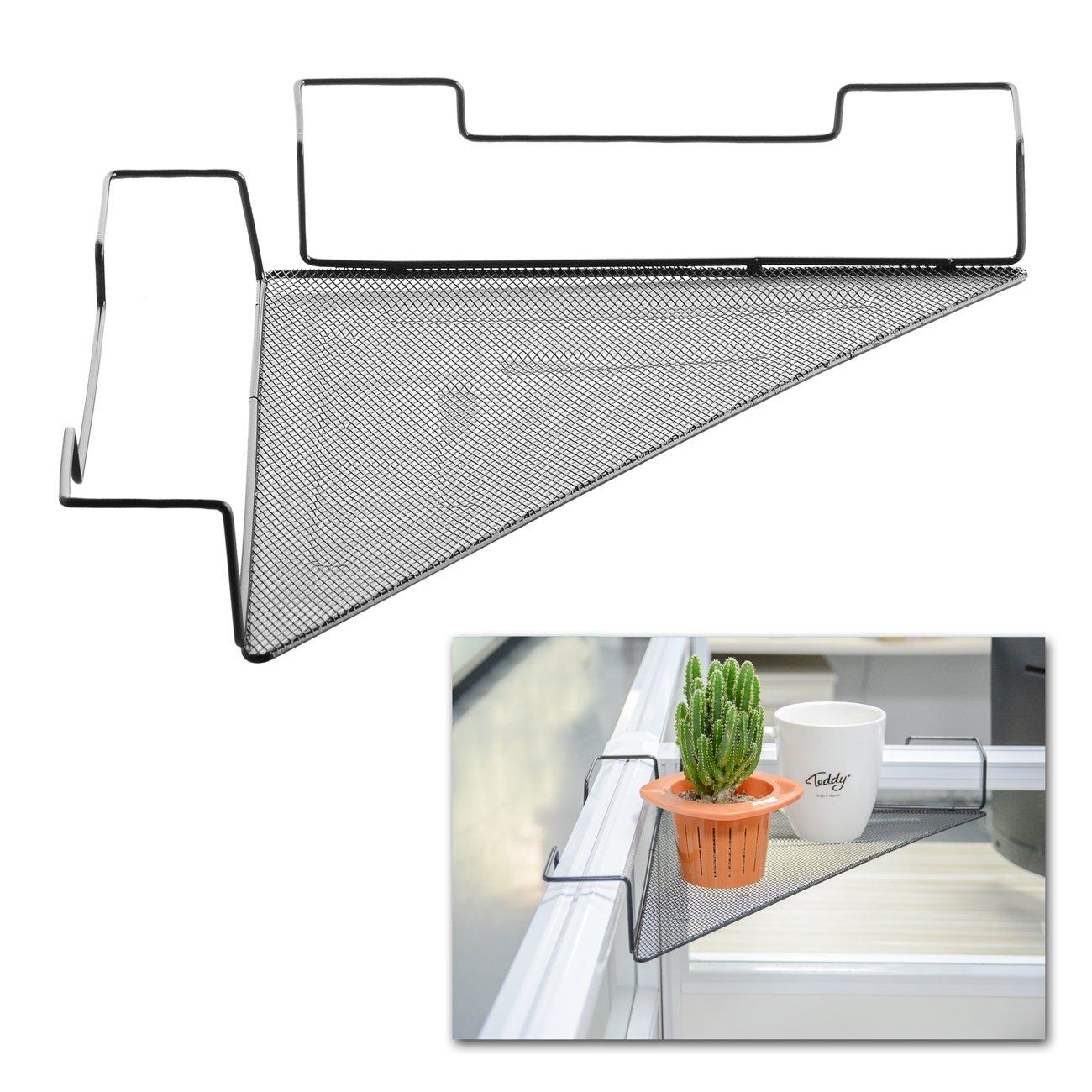 Cubicle Corner Shelf - Space-Saving Office Sundries Storage Rack Floating Organizer/Flower Pots Caddy -Iron Wire Rail with Mesh Panel - No Screw - (Black)