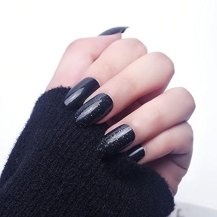 24pcs 12 diverso tamaño misterio noche brillo sólido negro ataúd cubierta completa larga uñas falsas con