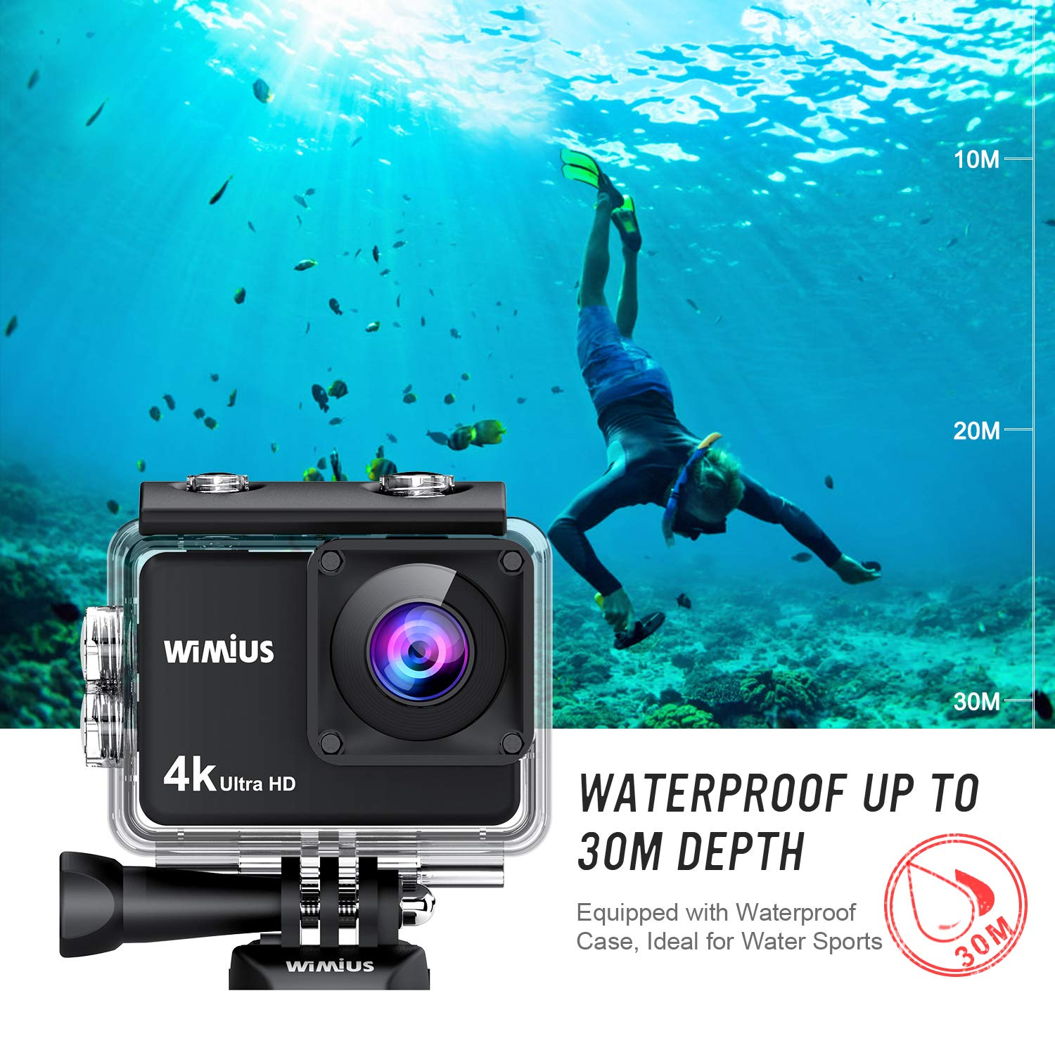 WiMiUS 4K Action Camera 2 Inch Touch Screen 16MP WiFi Sports Camera 30M Underwater Waterproof Camcorder 170 Degree Wide Angle Lens with 2 Rechargeable 1050mAh Batteries and Mounting Accessories by WiMiUS (Image #4)