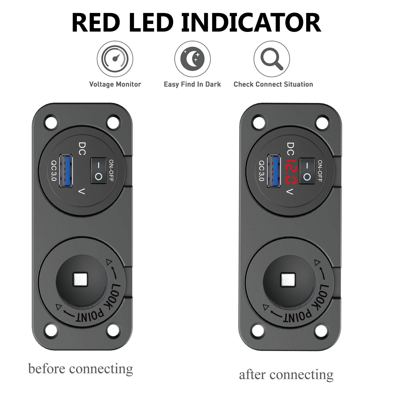 Barco RV Carga r/ápida 3.0 para Interruptor basculante en Coche ATV UTV QC 3.0 Cargador USB Dual de 12 V//24 V con Interruptor de volt/ímetro LED Resistente al Agua para Encendedor de Cigarrillos