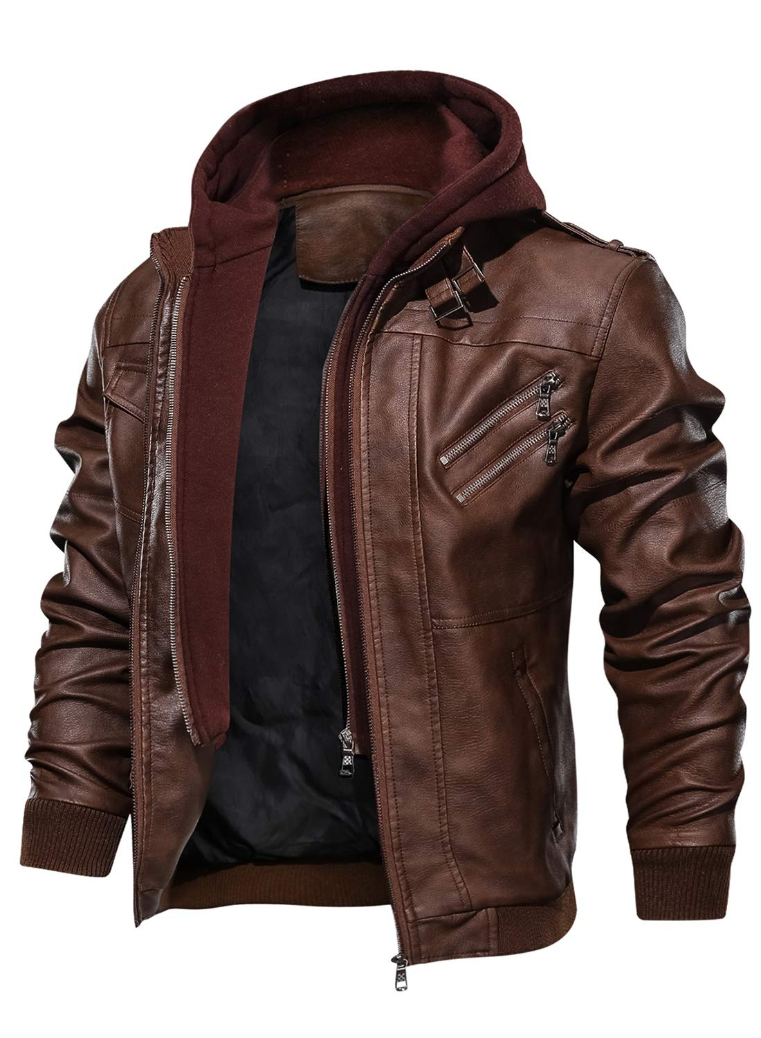 HOOD CREW Men's Casual Stand Collar PU Faux Leather Zip-Up Motorcycle Bomber Jacket with a Removable Hood Brown by HOOD CREW