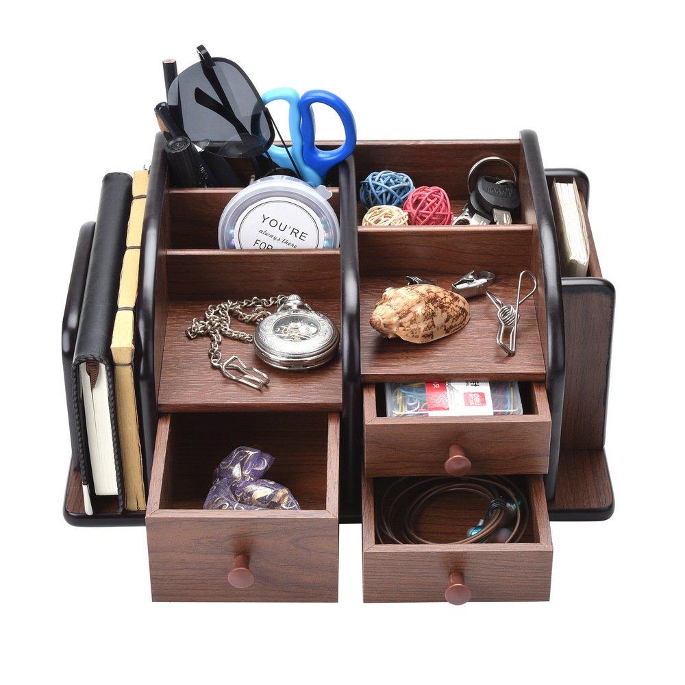 Siveit Wooden Desk Organizer, Wood Desktop Organizer with 3 Drawers 2 Shelves and 3 Compartments Office Supplies Holder Desk Accessories (Desk Organizer-3+3+2) by Siveit (Image #4)