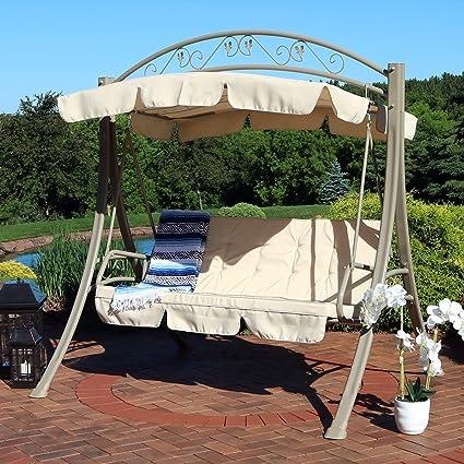 Delicieux Sunnydaze Deluxe 3 Seat Patio Swing Heavy Duty Steel Frame, Beige Cushions  Canopy