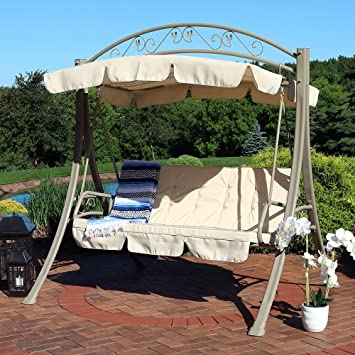 Amazing Sunnydaze Deluxe Patio Swing With Heavy Duty Steel Frame, Beige Cushions  And Canopy, Seats