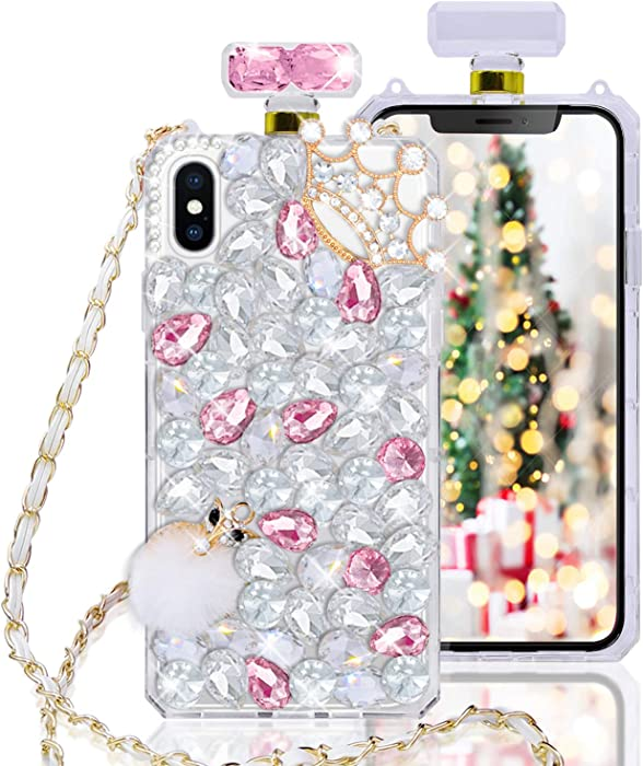 Fusicase for iPhone Xs Max Perfume Bottle Case Luxury Bling Diamond Crystal Sparkle Rhinestone Glitter Case 3D Handmade Crown Fox Cover with Chain Lanyard Case for iPhone Xs Max Pink