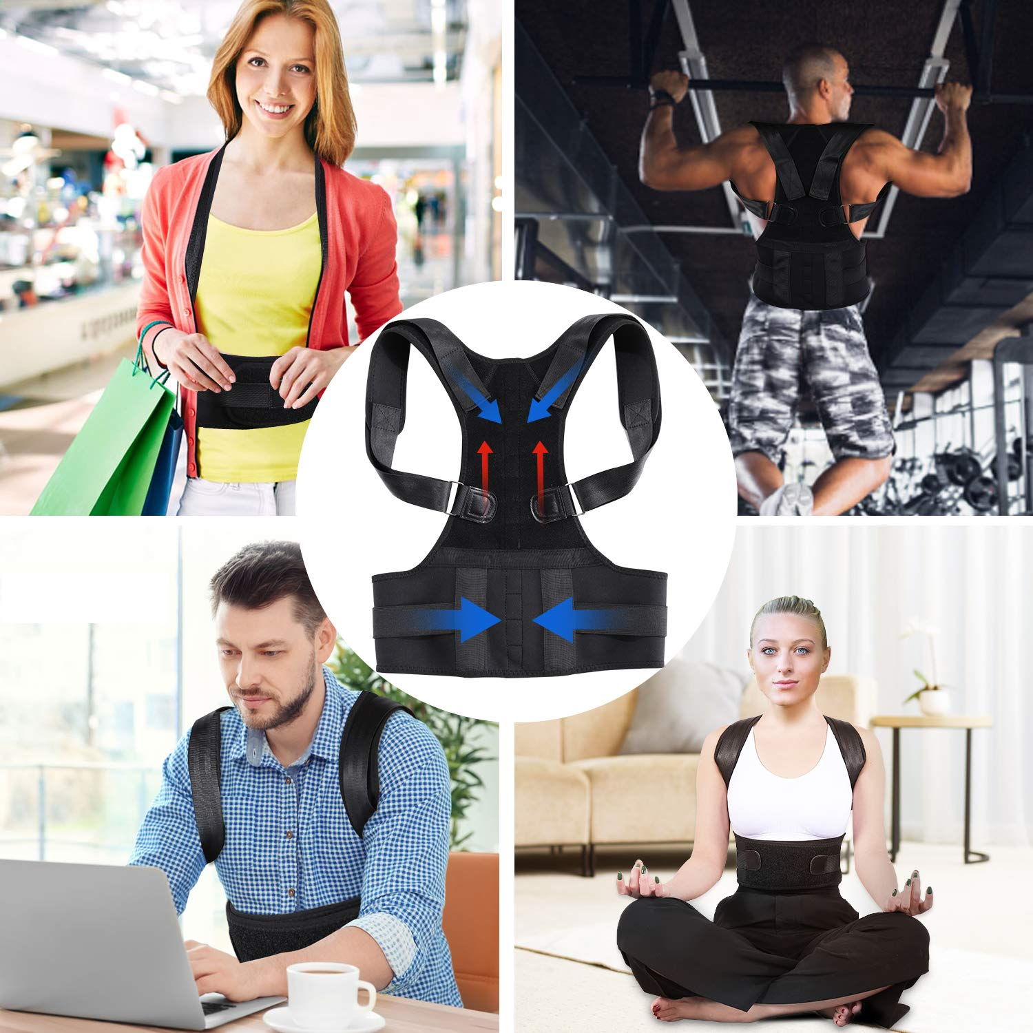 Lukemoz Posture Corrector for Men and Women, Adjustable Shoulder Brace Back Straightener, Comfortable Back Brace for Back Pain Relief, Improves Posture(S)