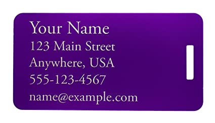 d8ba40c04fe1 Two Custom Engraved Aluminum Luggage Tags (Purple)