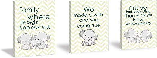 Kairne Cute Baby Elephant Watercolor Art Print Set of 3 Balloon Elephant Quote