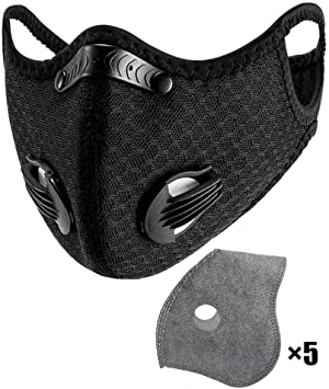 Nylon Dust Face Mask With 5pcs Active Carbon Filters Reusable And Washable Nylon Face Cover Personal Protective Adjustable For Running Cycling Outdoor Activities Amazon Com