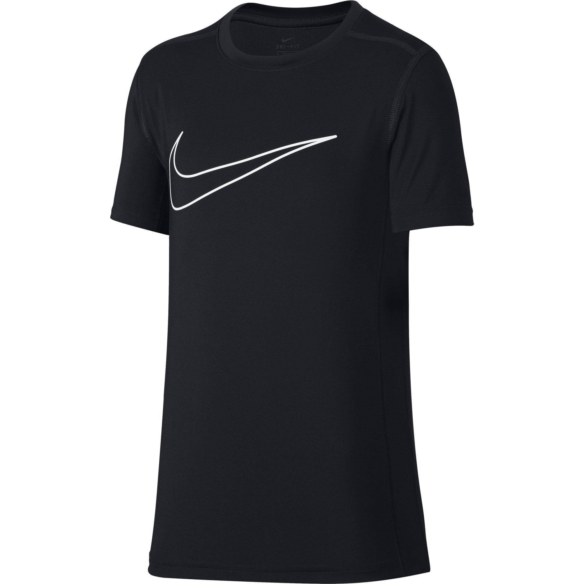 NIKE Boys' Short-Sleeve Training Shirt, Black, Large