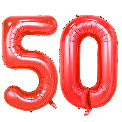 Number 50 Red Foil 40inch Jumbo Digital Balloons 50th Birthday Party Decoration Balloon
