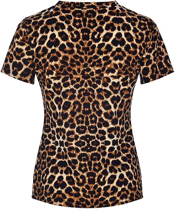 Funky Camisa Mujeres, Camiseta para Mujer Camisa De Mujer De Manga Corta con Cuello En V Y Estampado De Leopardo Tops De Manga Corta Camiseta Tops: Amazon.es: Ropa y accesorios