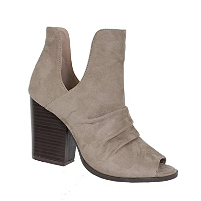 199dc1afba Amazon.com | Yoki Women's Lash Peep Toe Slouchy Stacked Block Heel KATTY-16  Casual Ankle Transitional Booties | Heeled Sandals