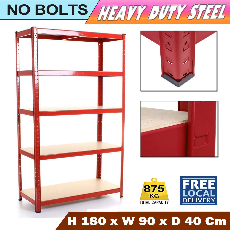 Floor Protection Rubber Feet Heavy Duty Industrial Storage Shelving Unit 875kg Boltless Shelves Metal Racking for Garage Shed Shelf Rack 180x90x40cm Red