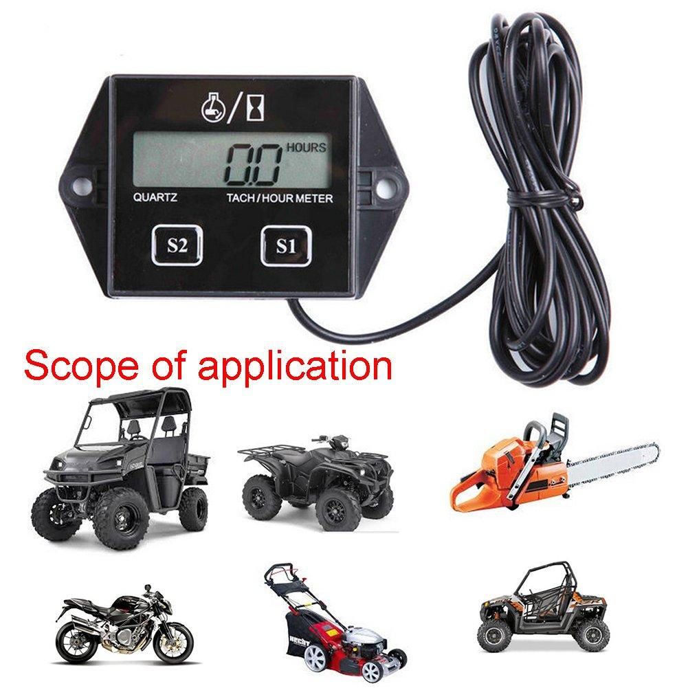 num/érique pour moto LCD Racing Spark Plug Engine Tach Hour M/ètre Jauge de Compte-tours