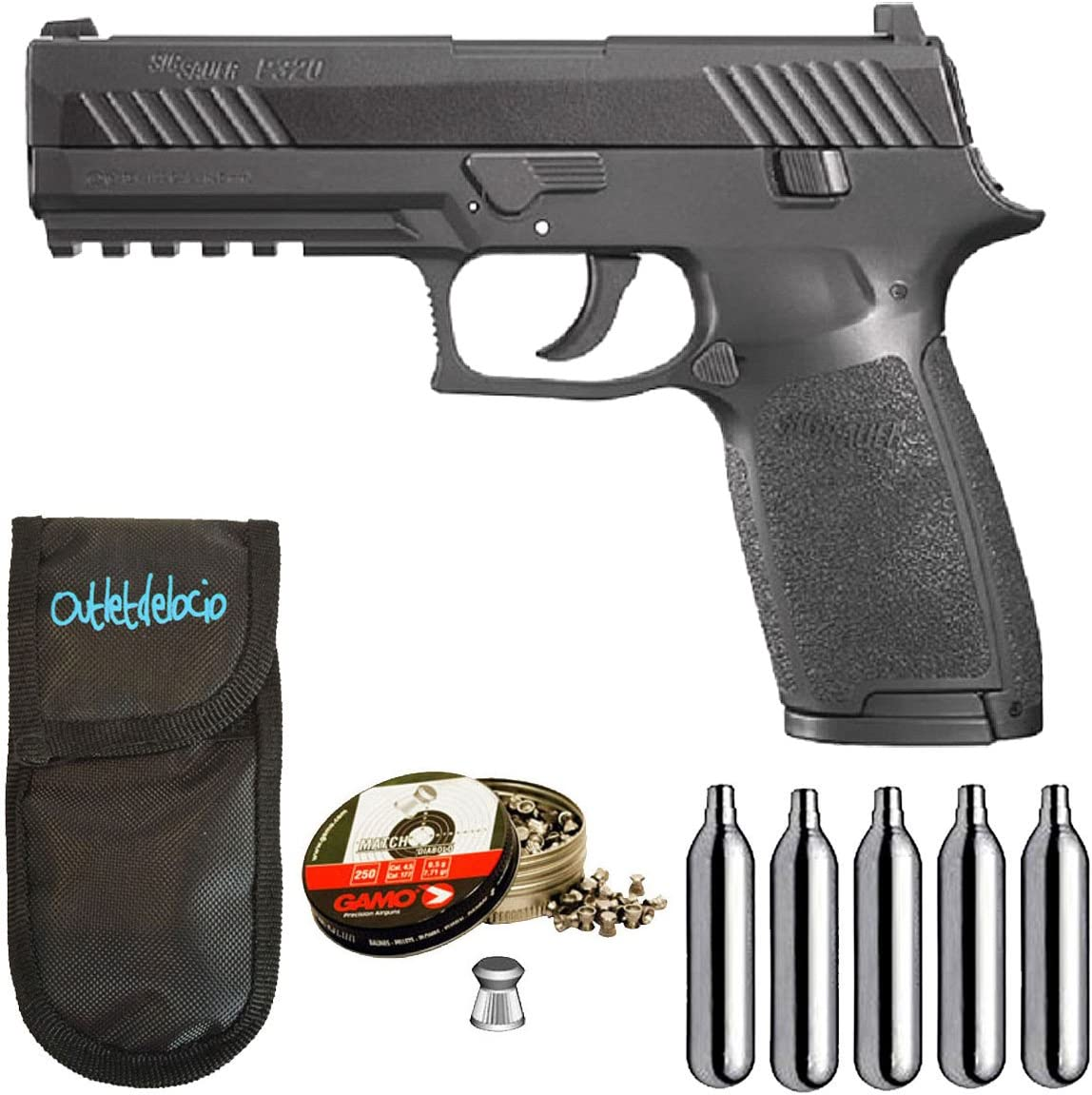Pistola perdigon SSP320B Sig Sauer P320 co2 Blowback 4,5mm + Funda Portabombonas + Balines + Bombonas co2. 23054/29318/38203