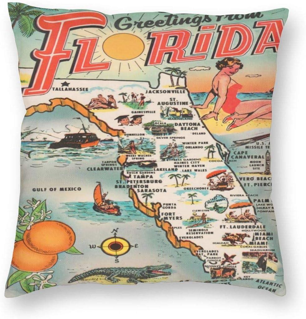 antcreptson Custom Fashion Home Decor Pillowcase Florida Map Sightseeing Landmark Sites Beach Resort Tourist Paradise Square Throw Pillow Cover Cushion Case 18x18 Inches One Sided Print
