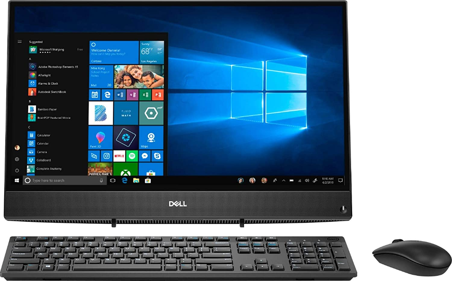 """Dell Inspiron 22 3275 AIO 21.5"""" FHD All-in-One Desktop Computer, AMD A6-9225 Up to 3.0GHz, 8GB DDR4 RAM, 256GB SSD, 802.11AC WiFi, Bluetooth 4.1, USB 3.1, HDMI, Black, Windows 10, BROAGE Mouse Pad"""