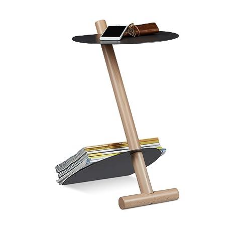 Relaxdays Metall Holz Couchtisch Zeitungsablage Hxbxt 55 X 34 X