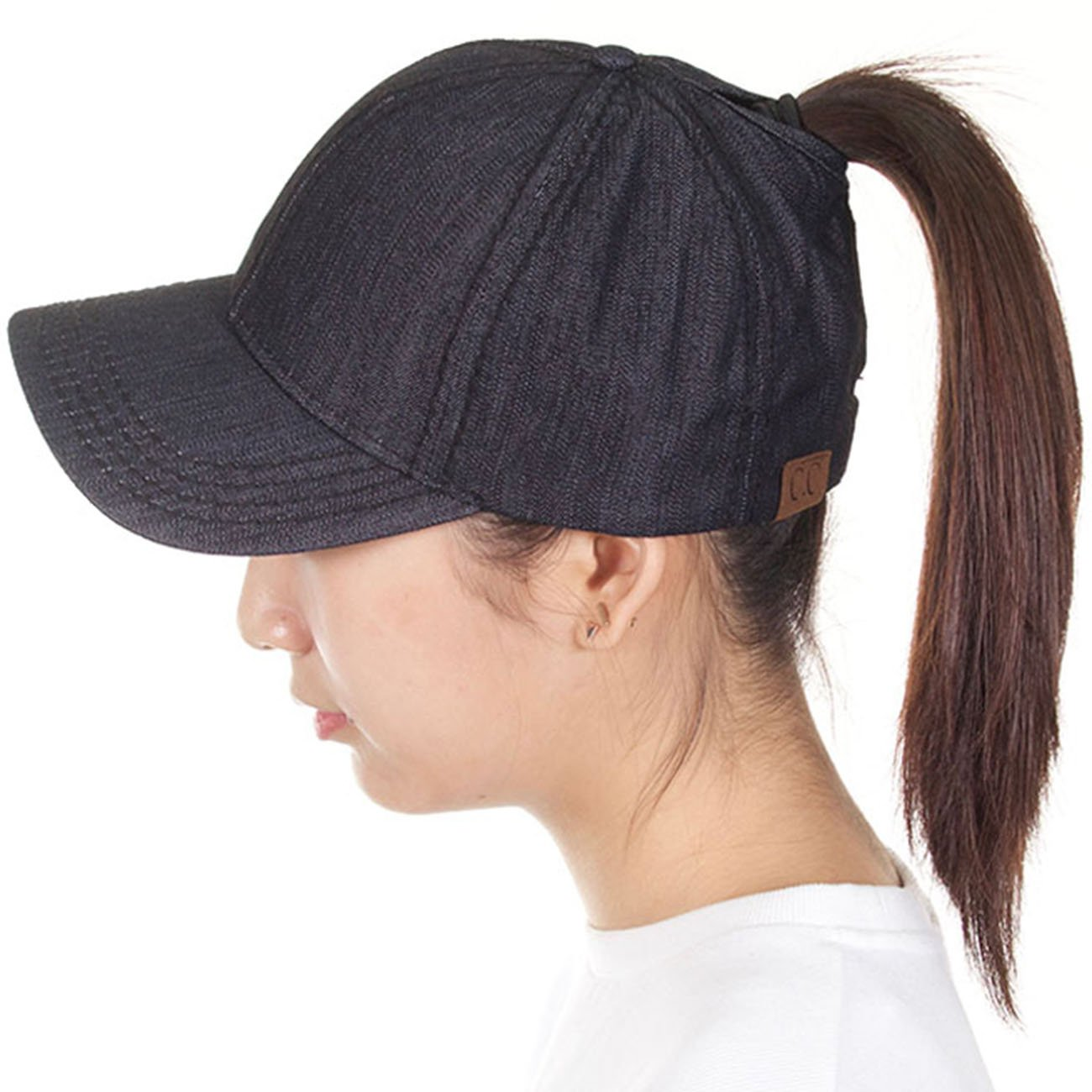 ScarvesMe C.C Solid Color Ponytail Messy Bun Ponycap Baseball Cap (Black)