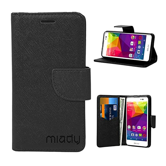 sale retailer 69d2c 378cf BLU Advance 5.0 case, Miady PU Leather Wallet Case ONLY for BLU Advance 5.0  Phone - Black