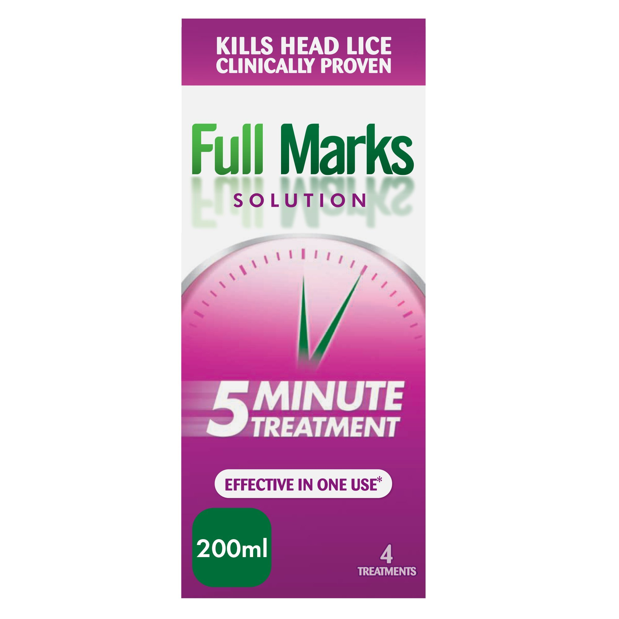 Full Marks Head Lice Solution With Comb - 4 Treatments, 200ml