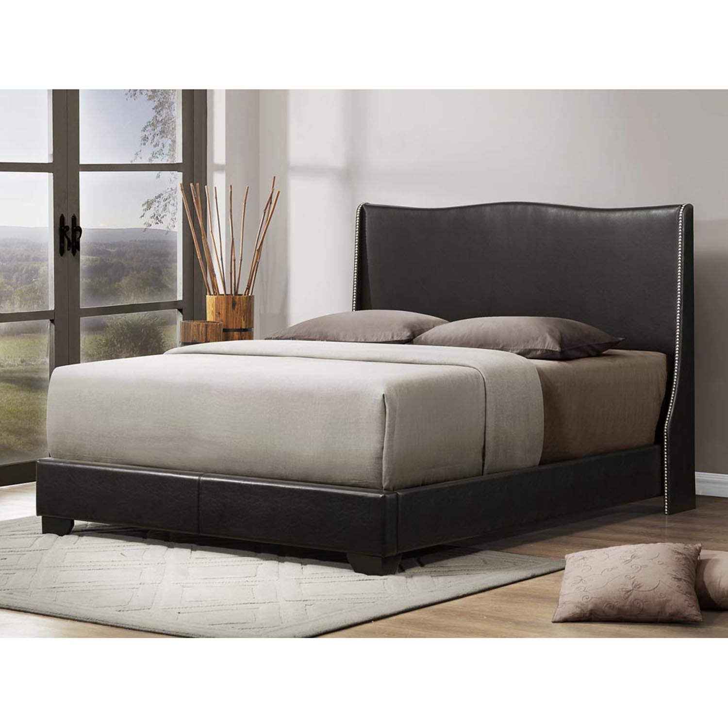 Amazon com baxton studio duncombe modern bed with upholstered headboard queen black kitchen dining