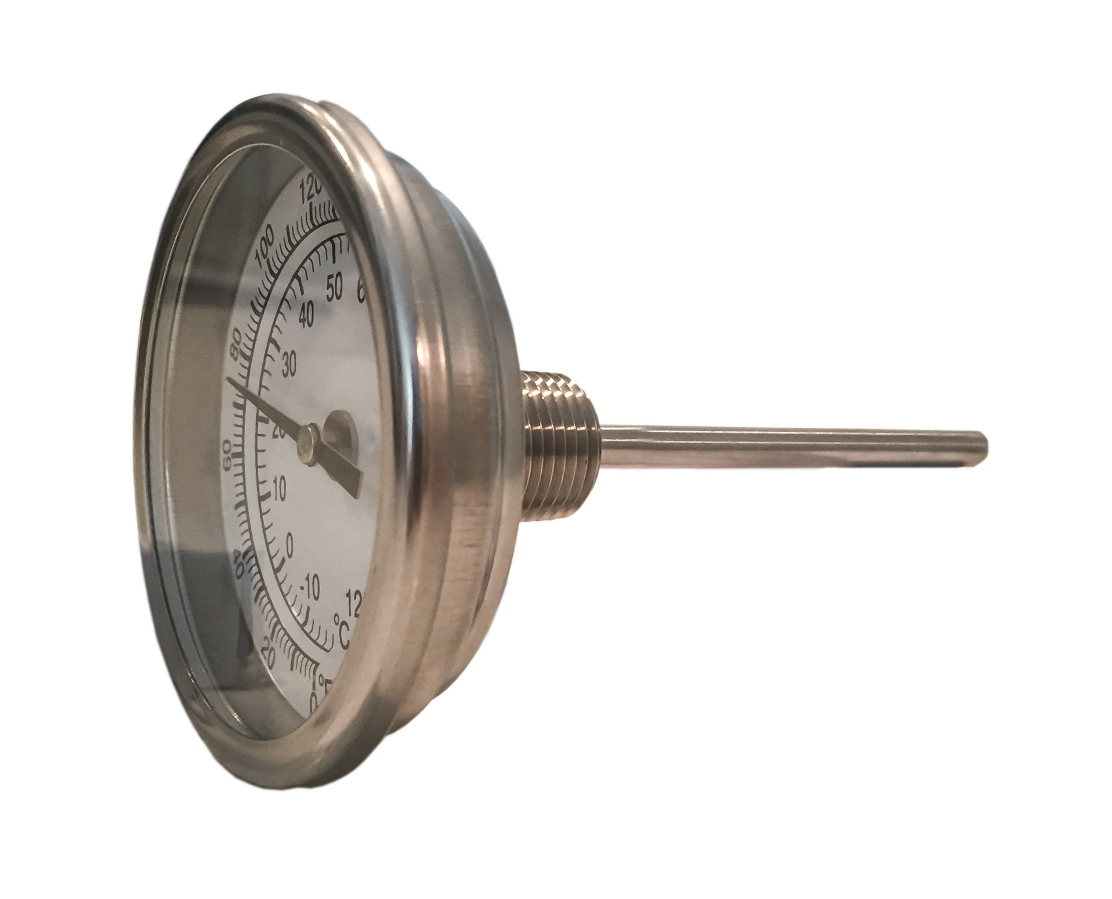 CNSG 3'' Dial x 4'' Stem Brewing/Distilling Thermometer with 1/2'' NPT