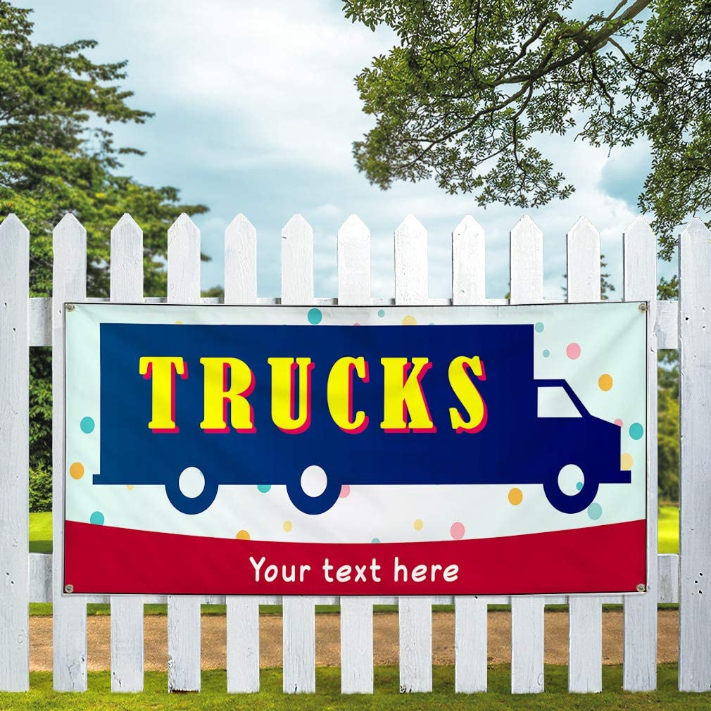 Custom Industrial Vinyl Banner Multiple Sizes Trucks Style B Personalized Text Here Funny and Novelty Outdoor Weatherproof Yard Signs Yellow 6 Grommets 32x80Inches