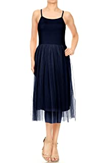 60ba0426090 Anna-Kaci Womens Spaghetti Strap Camisole Slip Tulle Skirt Ballerina Style  Dress