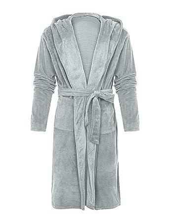 44911efb79 WISREMT Women s Hooded Robe Plush Soft Warm Fleece Bathrobe Solid Long Spa Velvet  Pajamas Shower Oversized